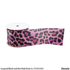 Leopard Black and Hot Pink Print Satin Ribbon