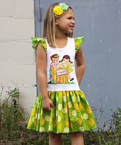 Look at this #zulilyfind! Lime Lemonade Stand Angel-Sleeve Dress - Infant, Toddler & Girls #zulilyfinds