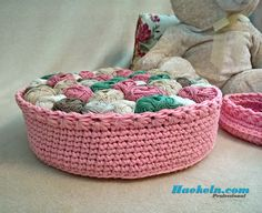 Großer Häkelkorb rosa Haekeln.biz • Haekeln.com • CrochetPlace.com