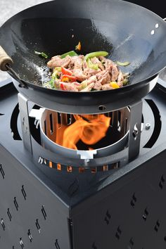 Outdoor kitchen, Pelmondo fire wok on terrace