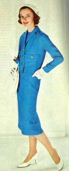 Blue 1950's Fashion. ♥