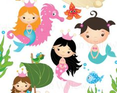 MERMAID clip art. Cli art fish. Undersea by LittlePumpkinsPix