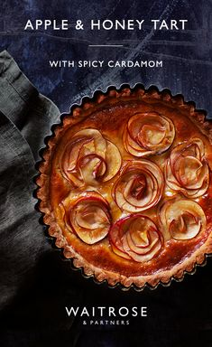 This apple and honey tart sure to be a showstopper at any dinner party. The use of spelt flour gives the pastry a lovely, crumbly texture whilst the cardimom adds a subtle hint of spice. Find the recipe and more on the Waitrose website. Tart Recipes, Apple Recipes, Sweet Recipes, Baking Recipes, Dessert Recipes, Dessert Tarts, Waitrose Food, Sweet Pie, Galette