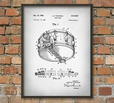 Snare Drum Patent Wall Art Poster by QuantumPrints on Etsy