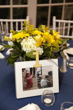 Displaying centerpiece pictures of the couple corresponding to the table numbers