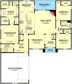 You'll enjoy this popular French Country Acadian style house plan that's under 2000 sq ft. Browse our floor plans today! The plan works don't like the elevation Acadian House Plans, Ranch House Plans, New House Plans, Dream House Plans, Small House Plans, House Floor Plans, Square House Plans, The Plan, How To Plan