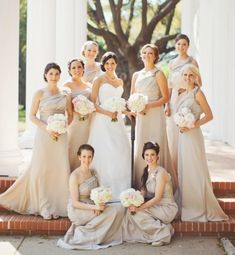 Love the nude bridesmaid dresses and white flowers
