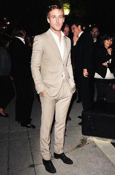 :) tan, casual suit, slim cut done right..