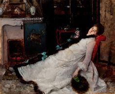 """Ernest Ange Duez: """"Resting"""", 1891, oil on wood, Pinacoteca do Estado de São Paulo,  Google Art Project."""