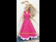 Свадебное платье для Барби своими руками. Вяжем крючком. Схема вязания этого платья приведена http://vk.com/online_videourok Добавляйтесь в группу http://vk....
