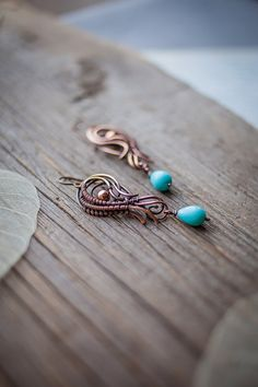 Rustic copper earrings  by UrsulaJewelry