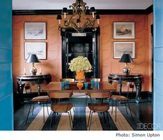 Dining room with Antinous wallpaper in persimmon from Brunschwig and Fils - interior design by Miles Redd - photo by Simon Upton - styled by Carlos Mota - Elle Decor, November 2006