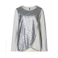 Long sleeve jumper, asymmetrical on the front with sequin applique.