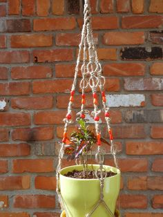 Macrame Plant Hanger with Red and Orange Beads