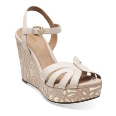 09b2fb0c6 Amelia Page Nude Leather - Womens Medium Width Shoes - Clarks Platform  Wedge Sandals