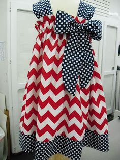 curtain dress tutorial. Different that a pillowcase dress. Gorgeous! Love the chevron/polka dot mix!