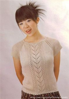 Knitting pattern for summer top Diy Crafts Knitting, Knitting Blogs, Sweater Knitting Patterns, Lace Knitting, Knitting Stitches, Knitting Designs, Knit Patterns, Summer Knitting, Knitting For Kids