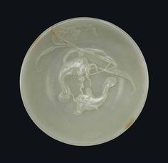 A WHITE JADE 'TWIN FISH' BOWL -  QIANLONG PERIOD (1736-1795)
