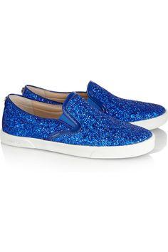 Jimmy Choo|Glitter-finished leather sneakers|NET-A-PORTER.COM