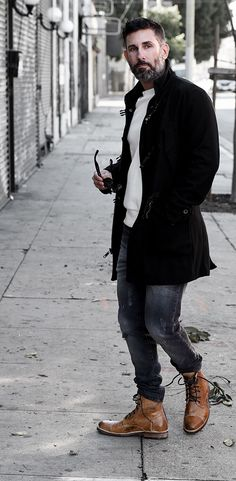 DTLA street look. Styled with tan lace up leather BEDSTU combat boots, white sweater and black trench coat.