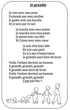 Chanson Je grandis chez Vivi – école petite section - Kita Projekte French Teaching Resources, Co Teaching, Teaching Social Studies, Teaching French, Preschool Learning, French Poems, French Phrases, Petite Section, Learn French