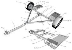 Cutting list and components for the Tow Dolly Trailer Trailer Dolly, Work Trailer, Trailer Plans, Trailer Build, Utility Trailer, Trailer Kits, Car Hauler Trailer, Atv Trailers, Custom Trailers