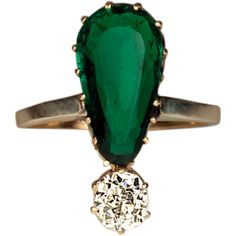 View this item and discover similar for sale at - Russian, made in Odessa between 1908 and 1917 gold ring prong-set with a modified pear-shaped ct emerald of a superb rich bluish-green color and 14k Gold Ring, Gold Diamond Rings, Emerald Diamond, Emerald Rings, Gold Rings For Sale, Colombian Emeralds, Cushion Cut Diamonds, Cocktail Rings, Vintage Rings