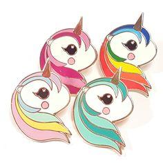 Very beautiful hard enamel pastel colored unicorn pin (30mm)