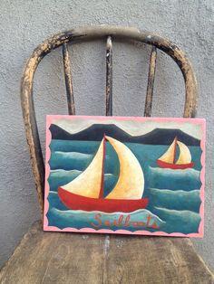 Sailboat Painting Reclaimed Wood Nautical by TinMajaTradeCo, $125.00