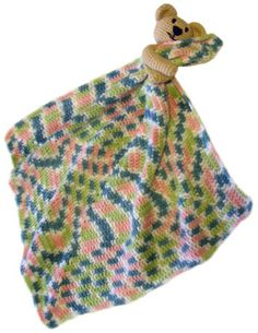 Security blanket with bear, found on : http://www.crochetspot.com/crochet-pattern-security-blanket-with-teddy-bear/