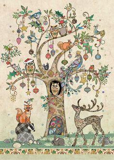 Festive Tree - christmas card by Bug Art Illustrations, Illustration Art, Greeting Cards Uk, Bug Art, Jolie Photo, Christmas Paper, Art Journal Inspiration, Christmas Pictures, Fabric Art