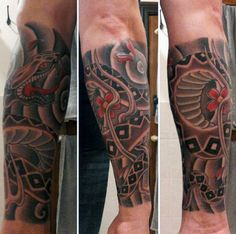 Japanese Snake Gentlemens Forearm Sleeve Tattoos