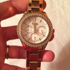 Fossil gold women's watch Good used condition. Fossil. Menswear inspired. Some wear on strap shown in photo. Crystals around dome face. Fossil Jewelry