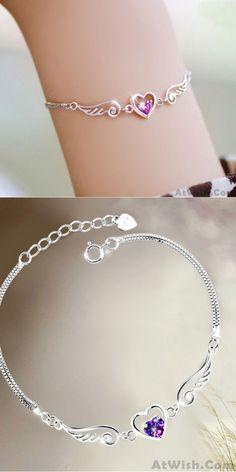 Cheap Angel Wings Lover Silver Bracelet For Big Sale!Romantic and Lovely silver bracelet Silver Charm Bracelet, Silver Bangle Bracelets, Silver Charms, Silver Jewelry, Fine Jewelry, Antique Bracelets, Charm Bracelets, Silver Ring, Silver Bracelets For Women