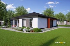 Projekty rodinných domů - projekt domu bungalov FLIP Farmhouse Style, Garage Doors, Shed, Floor Plans, Outdoor Structures, Mansions, House Styles, Outdoor Decor, Home Decor