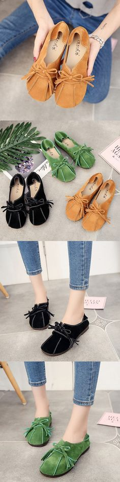 US$15.29 Soft Leather Slip On Lazy Portable Comfortable Flat Loafers For Women