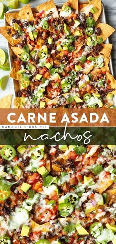 Make the BEST nachos on game day! Loaded with carne asada, cheddar, pico de gallo, and more, this easy homegating recipe or tailgate food will blow your mind. Enjoy this crowd-pleasing appetizer recipe all football season long!