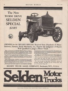 1919 Selden Motor Truck Co Rochester NY Ad Worm Drive Selden Special $2185 | eBay
