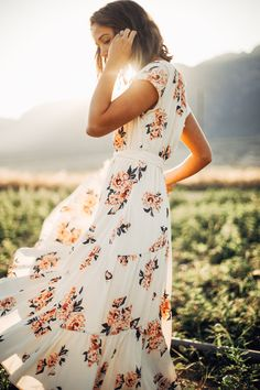 Free People: All I Got Printed Maxi Dress in Ivory Combo Modest Outfits, Modest Fashion, Cute Outfits, Fashion Outfits, Floral Fashion, Style Fashion, Maxi Dress With Sleeves, Floral Maxi Dress, Short Sleeve Dresses