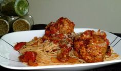 Spaghetti with Turkey Meatballs - Chipotle in Adobo in the Sauce for a twist - Click Here For Recipe!