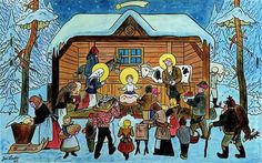 We were browsing online for vintage and old Czech Christmas cards and postcards from then called Czechoslovakia (now the Czech Republic) and we found so many that we decided to share the best ones here with you. Christmas Music, Winter Christmas, Christmas Decor, Xmas, Advent, Naive Art, Vintage Christmas Cards, Holiday Cards, Winter Scenes