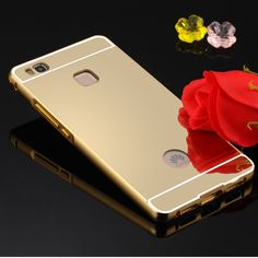 HC01 P9 Lite Luxury Metal Aluminum Alloy Bumper Frame Gold Plating Smooth Mirror Back Cover for Huawei P9 Lite Phone Case Fundas