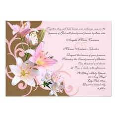 Pink and Brown Lily Wedding Personalized Invites so please read the important details before your purchasing anyway here is the best buyShopping          	Pink and Brown Lily Wedding Personalized Invites today easy to Shops & Purchase Online - transferred directly secure and trusted c...