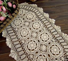 Crochet  Table runner   38X83CM Shabby Chic by TableclothShop, $15.00