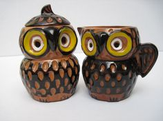 Owl cream and sugar setvintage owls by southcentric on Etsy, $19.35