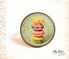 Bague Cabochon • Macarons • gourmandise nœud pois rétro vintage