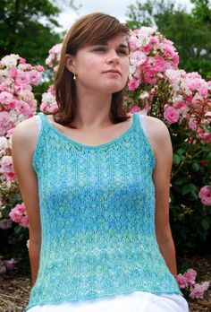Inspired by the colors of the sea, this Breezy Tank is the perfect addition to your summer wardrobe. This is a great knit tank top pattern for anyone wanting to learn how to knit lace as it showcases the beautiful drape of silk yarn in an intricate f