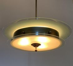 Lustre Art Deco En Verre Et Laiton , Frédéric Dulyere, Proantic Lampe Art Deco, Ceiling Lights, Display, Lighting, Decoration, Home Decor, Transitional Chandeliers, Art Deco Chandelier, Brass