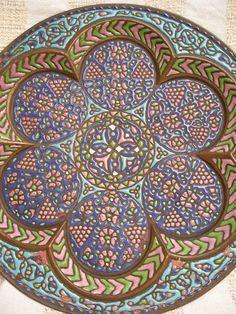 19th C. Islamic Cuerda Seca Enamel Copper Lobed  Tray