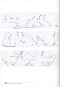 Cats Outline Cross Stitch